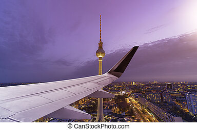 Airplane Wing Berlin Skyline