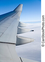 Airplane Wing close up shot