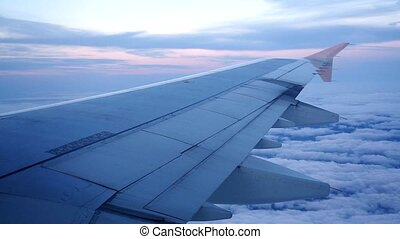 Airplane wing flying plane. HD