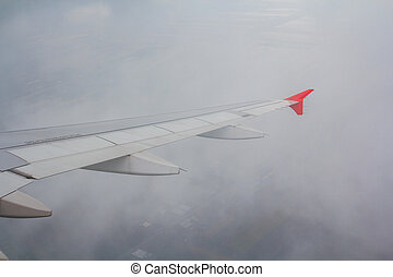 Airplane wing out of window