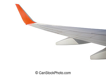 Airplane wing travel concept isolated on white
