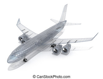 Airplane wire model , isolated