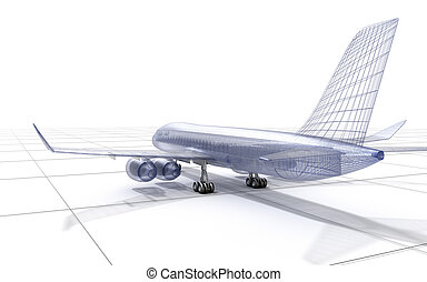 Airplane wire model , isolated on white. 3D illustration