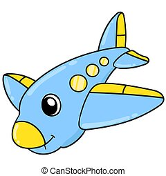 airplane with a cute face doodle kawaii. doodle icon image