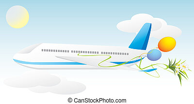 Airplane with balls and bouquet of