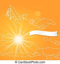 Airplane with blank banner flying in the sunny orange clouds sky vector illustration