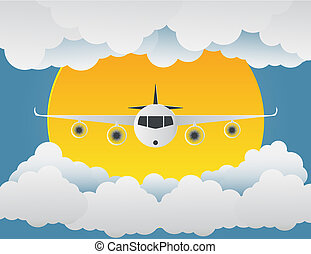 Airplane with clouds and sun on blue background. paper art. vector illustration