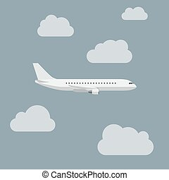 Airplane with clouds