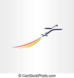 airplane with color smoke airlines symbol design
