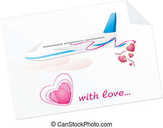 Airplane with hearts