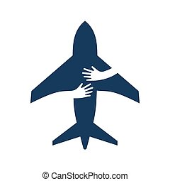 Airplane with human hands. Creative flat logo isolated. Transportation and tourism concept.