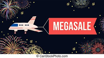 Airplane with red banner flying in night sky with fireworks