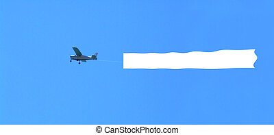 airplane on a sky with the blank area