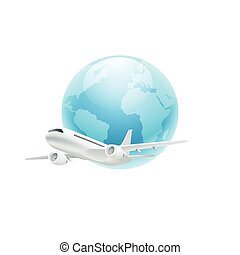 Airplane with the globe isolated on white
