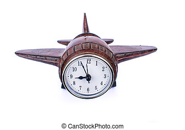 airplane wooden clock, travel ideas isolate