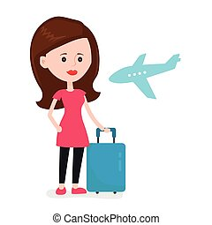 Airplane young happy woman passenger