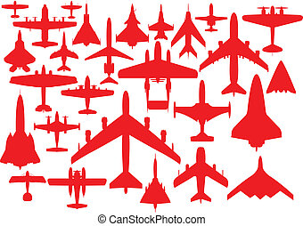 Aircrafts in red silhouettes.