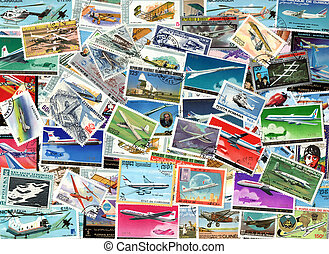 Airplanes and aviation - background of postage stamps