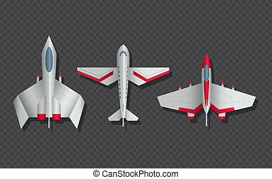 Airplanes and military aircraft top view. 3d airliner and ...