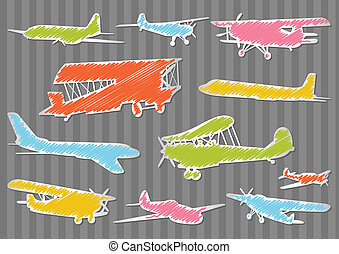 Airplanes detailed silhouettes vector