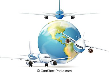 Airplanes flying around the planet earth