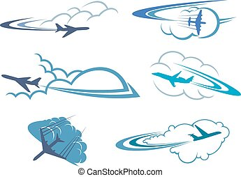 Airplanes flying in the cloudy sky