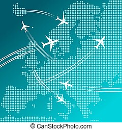 Airplanes flying over map of Europe, travel design