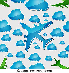 Airplanes in air with blue cloud