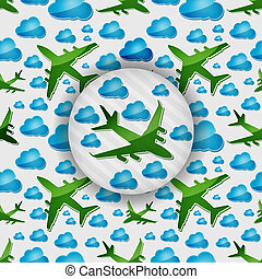 Airplanes in air with blue clouds