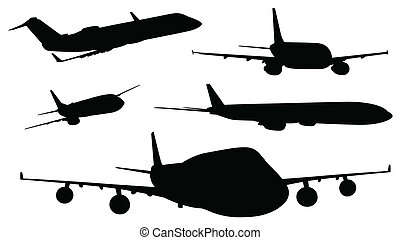 Airplanes in black color - Illustration of the airplanes in...