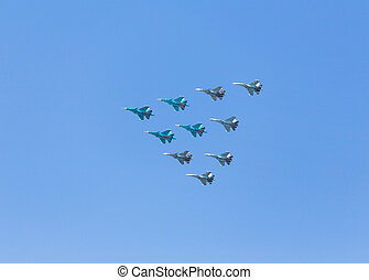 Airplanes in skies over Moscow on Victory Day