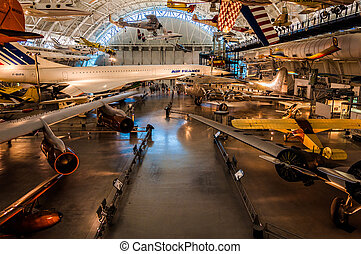 Airplanes in the Air and Space Museum Udvar-Hazy Center, in...