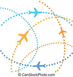 Airplanes on their destination routes