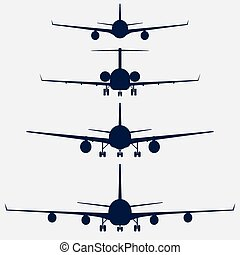 Airplanes silhouette front view