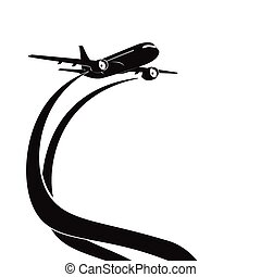 Airplane's silhouette on white background.