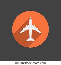 Airplanes top flat white icon