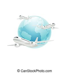 Airplanes with the globe isolated on white