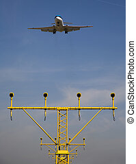 Airport is landing on Schiphol Airport, Amsterdam, Holland