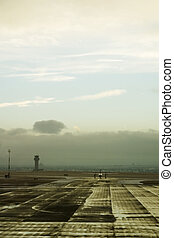 Airport Activity - An airplane taxiing on the tarmac of an...