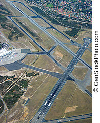 Airport Aerial - Aerial view of runway on major airport