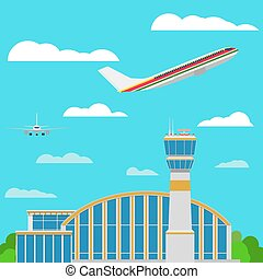 Airport airplanes Flat style Vector
