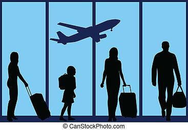 airport-an, família, ilustração