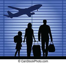 airport-an, gezin, illustratie