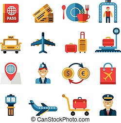 Airport and Airlines Services Icons. Vector Illustration Set in Flat Design
