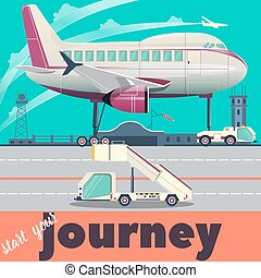 Airport and airplane flat vector illustration