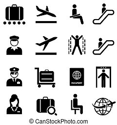 Airport and airplane travel web icon set