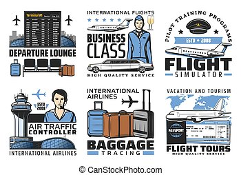 Airport and aviation flight service vector icons