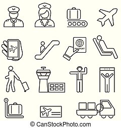 Airport and Aviation Line Icons