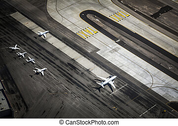 Airport and runway from above, Las