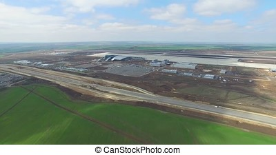 Airport and surrounding area. An aerial view of the airport...